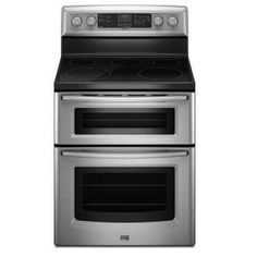 Maytag Gemini 30 In. Self-Cleaning Freestanding Double Oven Electric Range in Stainless Steel