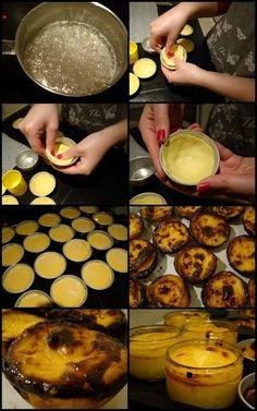 Pastel de nata_ almost a custard pie Pastry Recipes, Tart Recipes, Sweet Recipes, Baking Recipes, Dessert Recipes, Portuguese Tarts, Portuguese Desserts, Portuguese Recipes, Portugese Custard Tarts