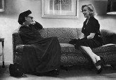 "Marilyn during a meeting with British poet, Edith Sitwell, 1953. Edith Sitwell said of Marilyn ""She possessed great natural dignity and was extremely intelligent. She was also overly sensitive""."