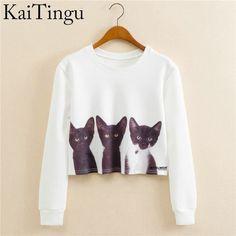 KaiTingu 2017 Autumn Women Casual Pullover Harajuku Fashion Crop Tops Round Neck Long Sleeve Ladies Cat Short Cropped Sweatshirt