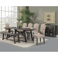 Alpine Furniture 6 Piece Newberry Dining Set with Bench, Salvaged Grey Finish Family Dining Rooms, Dining Room Bar, Dining Table In Kitchen, Dining Bench, Dining Tables, Living Room, Side Tables, Alpine Furniture, Dining Furniture