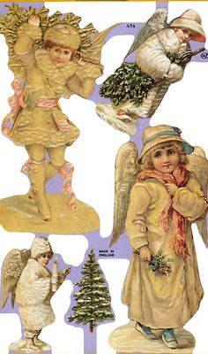 Vintage snow angel Christmas scraps from England