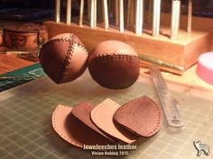 >>> Making juggling balls of natural tanned leather, filled with rice, by Jeweleeches Vivian Hebing! Do you want to see more of my work, you can find me on facebook or Etsy too!
