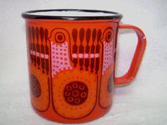 mid century modern finel arabia red bird lintu enamel mug by kaj franck