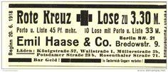 Original-Werbung/ Anzeige 1918 - ROTE KREUZ - LOSE / EMIL HAASE BERLIN - ca. 90 x 40 mm