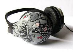 Alice in Wonderland Black and White Painted Headphones Made to Order. €85.00, via Etsy.