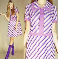 SALE // Vintage 60s Psychedelic Groovy Purple Optical STRIPE Polka Candy Swinging MOD GoGo Fitted Knee Length Mini Dress. kr220.00, via Etsy.