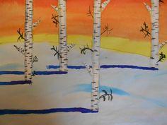 Pretty birch trees with watercolour. Tutorial