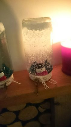 Made these snow jars the other day love them!! xxx  Recycled jars,, Snow and the string from the range,, Glitter I already had,, Trees, figurines and the little keys from hobby craft,, All stuck down with waterproof silicone and also sealed around the lid with silicone :) ❤ 👌