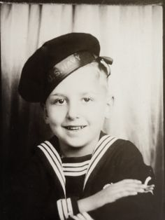 ** Vintage Photo Booth Picture ~+  Adorable Sailor Boy.  ca. 1940