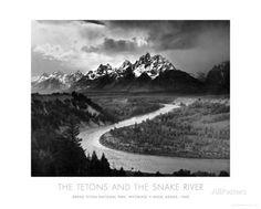 Die Teton-Gebirgszüge und der Snake River, Grand Teton National Park, ca. 1942 Kunstdruck