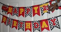 Disney Cars pixar Birthday banner por KraftingwithPatty en Etsy