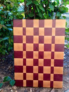 Exotic Purple Heart And Maple End-grain Cutting Board
