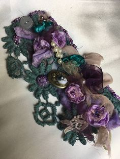 Flower chabby chic romantic flower bracelet by MARTICASJEWELRY on Etsy