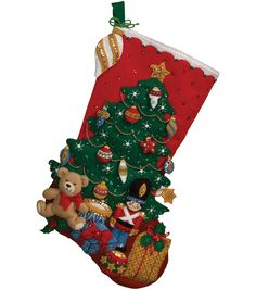BUCILLA-Felt Stocking Kit. Festive designs; quality materials; and generous embellishments continue to make Bucilla felt stockings a favorite stitchery tradition. This kit contains stamped felts; cott