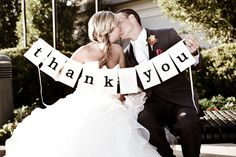 Def need a thank you photo like this! We could make our own rustic sign!