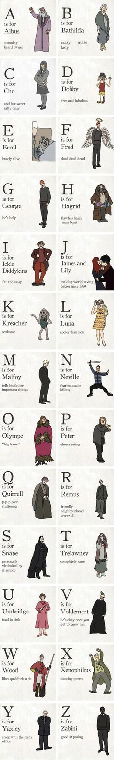 The Harry Potter alphabet---- WAS FREDS REALLY NECESSARY!?<<<*sniffle* NO!!! FRED! WAHHHHH!!!