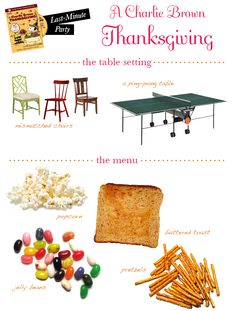 Charlie Brown thanksgiving essentials...cute idea for appetizer table, especially for the kids.