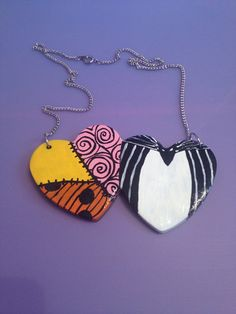 Nightmare Before Christmas Jack and Sally Hearts Necklace. $30