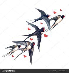 Swallow Tattoo Design, Swallow Bird Tattoos, Golondrinas Tattoo, Sparrow Tattoo, Watercolor Art Diy, Three Little Birds, Animal Sketches, Bird Illustration, Bird Drawings