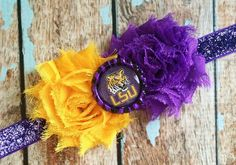 Hey, I found this really awesome Etsy listing at https://www.etsy.com/listing/178871181/lsu-tigers-shabby-flower-headband-baby
