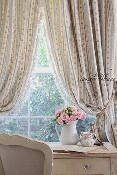 FRENCH COUNTRY COTTAGE: New drapes... with a twist  I am doing this in my room.  Most definitely