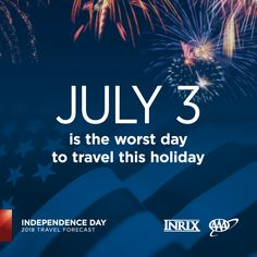 Hitting the road this #IndependenceDay? Avoid traveling July 3, especially in the late afternoon. #INRIX #travelforecast www.newsroom.aaa.com Worst Day, Summer Travel, Amazing Destinations, Independence Day, Summertime, National Parks, Traveling, Boat, Vacation