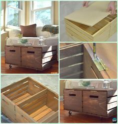 DIY Wine Wood Crate Coffee Table Free Plans - Two-Crate Coffee Table