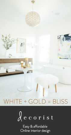 Nothing says luxurious spa bathroom more than white and gold. See the rest and all the other rooms in the San Francisco Showhouse designed 100% via online interior design...