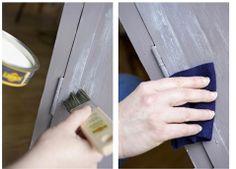 Appliquez la patine à l'ancienne sur la peinture à la caséine puis lustrer l'armoire à l'aide d'un chiffon doux