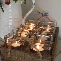 Tea Lights in wooden trug
