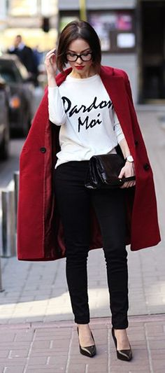 Burgundy On Black And White Styling
