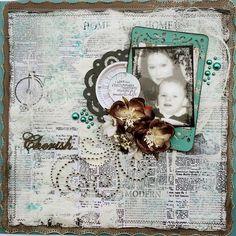 Swirlydoos Scrapbook Kit Club: Artful Blues Mixed Media Background with Rae swirlydoos.com