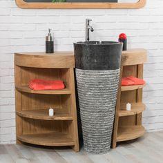 Pour une salle de bain originale optez pour l'ensemble Florence meuble en bois massif teck et sa vasque sur pied en marbre noir.Votre espace bain se transforme en réelle pièce à vivre grâce au design et aux courbes arrondies de cette ensemble parfait. Equipé de 6 étagères, ce conbiné vous permet des espaces de rangement pour vos accessoires de beauté et articles de toilette.  Un réel bonheur de passer du temps dans cette pièce! Plusieurs couleurs possibles (noir, grisou cr...