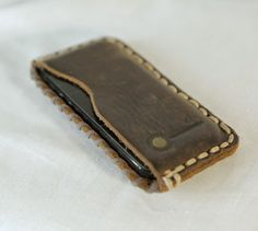 iPhone 5 leather case. Latigo Leather, hand stitched. By Leon Litinsky (LZZER)