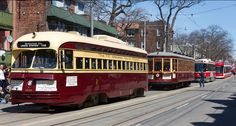 Spotted: Four Generations of Streetcars! Old and new TTC streetcars rode the rails together at the Beaches Easter Parade Toronto Ontario Canada, Toronto City, Tramway, Beach Trip, Hawaii Beach, Oahu Hawaii, Beach Travel, Rapid Transit, Rail Car