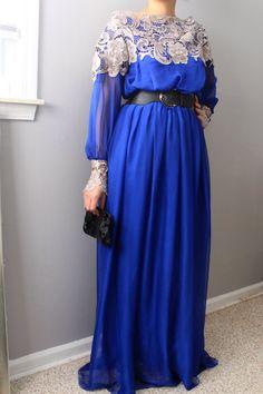 Blue Chiffon Dress/ Lace /Long Sleeves Dress/Long by SusVintage