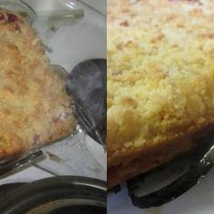 Rhubarb Dream Bars Recipe   Yummly Rhubarb Desserts, Rhubarb Recipes, Rhubarb Dream Bars, Homemade Vanilla Extract, Shortbread Crust, Jelly Roll Pan, Thing 1, How To Double A Recipe, Cake Pans