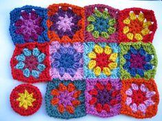 Brightly coloured mini Granny Squares