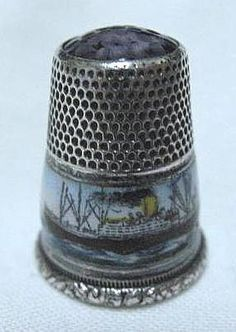 Silver Souvenir Thimble of the Steamship President Lincoln. Most likely German, ca. 1901-1917. Damaged enamelling, glass cap.