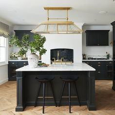 @luxcustomhomes posted to Instagram: This stunning farmhouse style kitchen by @stevecordony was one of the most Instagrammed kitchens of 2020. Featuring the @montauklightingco 'Rivington' Large Billiard Pendant in Natural Brass which beautifully complements the hardware by @gregorycroxfordliving 📷 by @edward._.urrutia #lighting #light #interiors #interiordesign #interiorstyle #interiordesign #interiorlovers #home #style #architecture #design #luxurykitchen #kitchendesign #luxuryho