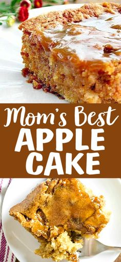 The ingredients for this Mom's Best Apple Cake are so simple and it comes out perfect every time! This is the only Apple Cake Recipe you will ever need. The ingredients for this Mom's Best Apple Cake. Apple Cake Recipes, Dessert Cake Recipes, Köstliche Desserts, Easy Cake Recipes, Frosting Recipes, Chocolate Recipes, Baking Recipes, Apple Cakes, Recipe For Apple Cake