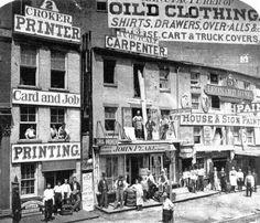 29. Hudson Street, New York, ca. 1865. The big-city hive of small shops. New-York Historical Society
