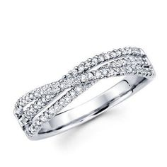Anniversary Ring Wedding Band Diamond 14Kt White Gold Real SI1/G 0.75Ct Pave Set