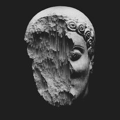 // Graphic Design #head #statue #sculpture #greek #antique #melted #glitch