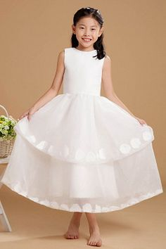 Scoop Sweet White Flower Girl Dresses - Order Link: http://www.theweddingdresses.com/scoop-sweet-white-flower-girl-dresses-twdn1129.html - Embellishments: Applique , Bowknot , Tiered; Length: Floor Length; Fabric: Organza; Waist: Natural - Price: 71.5USD