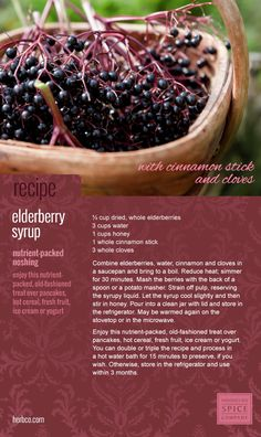 [ Recipe Card: Elderberry Syrup ] Enjoy this nutrient packed old fashioned treat over pancakes, hot cereal, fresh fruit, ice cream or yogurt. Made with cinnamon stick and cloves spices. ~ from Monterey Bay Spice Co archives [ Preserving the Harvest ] Cough Remedies For Adults, Cold Remedies, Herbal Remedies, Holistic Remedies, Natural Remedies, Elderberry Recipes, Elderberry Jelly Recipe, Elderberry Uses, Gastronomia