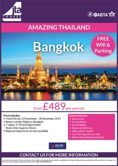 @bangkok CityBreaks #lovefareast 7ngts from just £489 per person *regional departures are available* #mytravelfairy* call us FREE