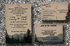Custom Woodsy Wedding Invitation With Pine Trees And Mountains/camping Wedding Invitations/forest Wedding Wedding. Custom Woodsy Wedding Invitation With Pine Trees And Mountains/camping Wedding Invitations/forest Wedding Wedding on Tradesy Weddings (formerly Recycled Bride), the world's largest wedding marketplace. Price $157.95...Could You Get it For Less? Click Now to Find Out!