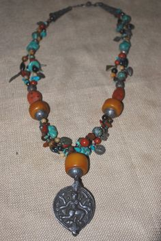 Vintage Sterling pendant, Amber, Turquoise necklace
